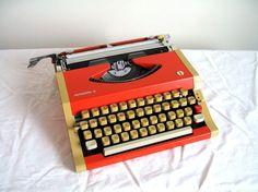 Retro Orange Vintage Olympia Olympiette 3 Typewriter...