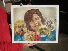 Michelle and her dogs, oil on wood, May 2015, Swaziland