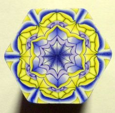 LARGE Purple and Yellow Hexagon Polymer Clay Cane by ClaybyKerm, $10.00