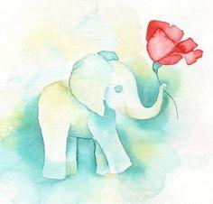 "8x8"" PRINT 'Elephant and Poppy' Print of my watercolor painting, 8x8"", Nursery Room Art, baby elephant art"