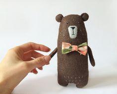 Felt Bear With A Bow Felted Miniature Animals Felt by Amuru