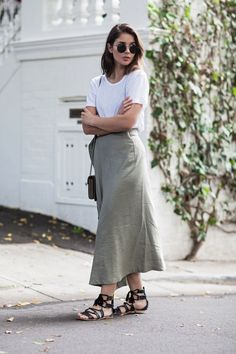 When styling neutrals, like this khaki skirt, it's easiest to go with a fresh white or black.   Wearing: Bassike white t-shirt, Albus Lumen khaki skirt, Gucci Dionysus bag, Splice sandals, Le Specs su