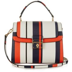 Dolce & Gabbana Greta medium striped-leather tote ($2,264) ❤ liked on Polyvore featuring bags, handbags, tote bags, white tote, nautical tote, white tote bag, tote handbags and striped tote