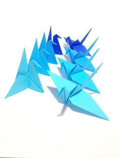 Origami Cake Toppers, Ombre Blue, Origami Crane, Origami Flowers, Origami Garland, Mobile, Backdrop, Place Card Holder, Japanese Theme by FlyingCraneOrigami on Etsy