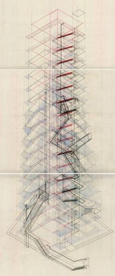 leana fisher Thesis (2008-2009) + axonometric section // pen, pencil, watercolor, paper