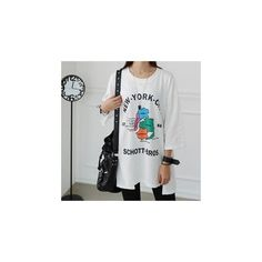 3/4-Sleeve Printed Long T-Shirt (377.290 IDR) ❤ liked on Polyvore featuring tops, t-shirts, tees, women, long length t shirts, three quarter sleeve tees, 3/4 sleeve t shirts, three quarter sleeve tops and long sleeve tshirt