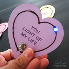 Valentines Day Gifts : Light up Valentines Left Brain Craft Brain Science Valentines, Easy Valentine Crafts, Valentines Day Activities, Valentines Day Party, Valentines For Kids, Valentine Decorations, Valentine Ideas, Valentine Cards, Activities For Teens