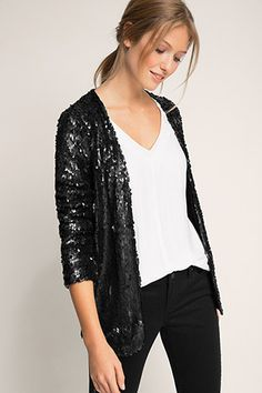 EDC / sequined jacket lined with jersey Edc, Outfits Damen, Sequin Jacket, Blazer, Mode Inspiration, Formal, Fashion Outfits, Womens Fashion, Clothing Patterns