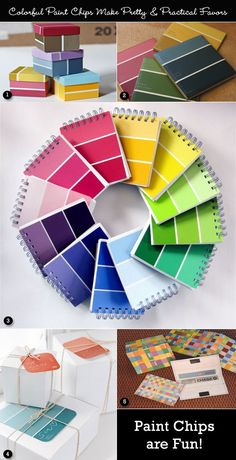 Paint chip ideas in multiple colors of red, green, blue, and yellow