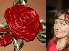 Роза Канзаши на Афинке (мастер класс). DIY Kanzashi Rose