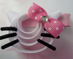 Hello Kitty Clip Hair Ribbon Sculpture by TakeABowHandcrafts Ribbon Hair Clips, Ribbon Hair Bows, Diy Hair Bows, Hello Kitty Bow, Barrettes, Hairbows, Hair Bow Tutorial, Ribbon Sculpture, Diy Headband
