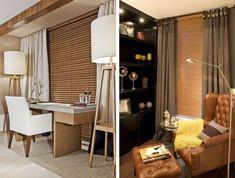 escritorio com persiana de madeira