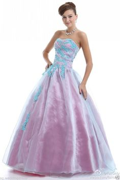 Faironly Blue Pink Strapless Evening Party Prom Gown Formal Dresses Size 6-16