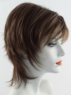 Millie by Noriko is a short shag cut that has been tailored for today's modern women. The precision cut and face framing fringe create a stunning silhou. Short Choppy Haircuts, Short Shag Hairstyles, Short Hair Dos, Short Dark Hair, Strawberry Blonde Highlights, Androgynous Haircut, Edgy Hair, Light Hair, Synthetic Wigs