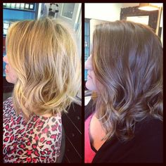 Long angled bob is a great cut for blonde or caramel highlights