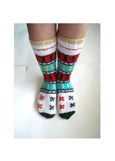 knit socks white red green Turkish Knitted Socks by AnatoliaDreams