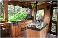 A view of the kitchen in Skye's Tree house in Volcano Hawaii
