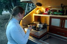 Pictures of people camping in teardrop trailers Teardrop Trailer Plans, Teardrop Campers, Rv Mods, Glamping, Travel Style, Trailers, Lifestyle, Glam Camping, Pendant
