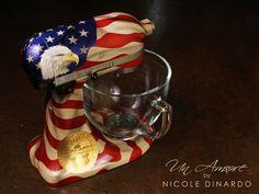 Bald Eagle, waving american flag custom painted KitchenAid Mixer by Nicole Dinardo of Un Amore INC.