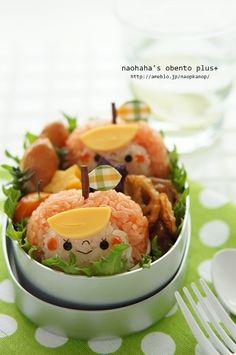 Kawaii Apple Girl Rice Ball, Kyaraben Bento Lunch