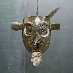 Mid-Century Folk Art Monster Mexico Tin Glass Wall Mask 40s Art Tribal