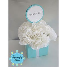 Baby Shower Centerpieces - Stork & Co. - Tiffany Co. Inspired Box - Tiffany Blue and White found on Polyvore