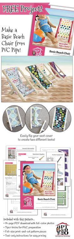 Make an easy & cute beach chair for your 18-inch doll, complete with reversible fabric seat! FREE downloadable pattern from AptOne8 by Matilda Jo Originals!