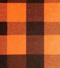 Snuggle Flannel Fabric-Carrot Check