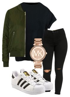 """falls outfit"" by rabiamiah on Polyvore featuring Topshop, adidas Originals and Michael Kors"