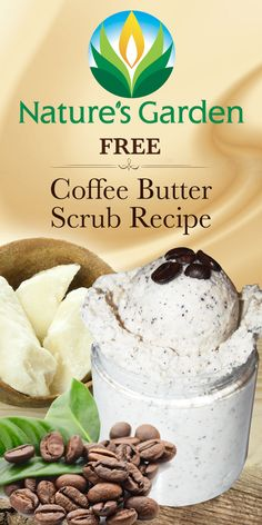 FREE Coffee Butter Scrub Recipe. A fabulous homemade scrub recipe including rich cocoa butter, shea butter, mango butter, coconut oil, and real coffee grounds.  Exfoliates and softens your skin! #CoffeeScrub
