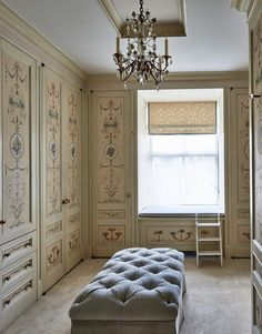 Faux painted doors with British furniture maker Adams patterns. New York's Most Exceptional Apartment Buildings - The Glam Pad Vintage Dressing Rooms, Dream Closets, Closet Rooms, Open Closets, Closet Space, Dressing Room Design, Interior Decorating, Interior Design, Design Design
