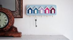 Handmade Beach Hut Key Rack  This shabby chic beach hut key rack has been lovingly hand crafted. We have lots of different sizes and colours and