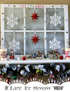 DIY Let It Snow Window: Hobby Lobby Mirror, Spray frost, Ornaments, Sharpies and Thumbtacks. Easy #Christmas #mantle project. #StaplesSharpie #ad #pmedia