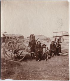 Red River, carts, and Indians. Date and location unknown.