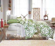 Bring in bold prints to act as a focal point in your bedroom