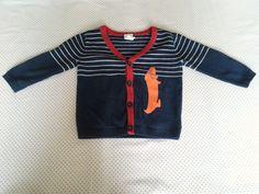 Blauw vest met streep en teckel in maat 74 Kapje Rood