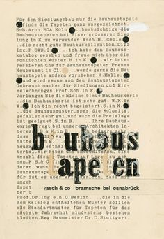 art for my office: Bauhaus advertisement 'bauhaus tapeten' ('bauhaus wallpapers') no. 5, finished artwork, montage for printing plate production, author: Moses Bahelfer, 1930, class of Joost Schmidt, advertising/print workshop Estate Hannes Meyer, Archiv der Moderne – Klassik Stiftung Weimar / © unknown.