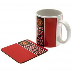 Manchester United F. - ceramic mug and coaster - approx tall and in diameter - supplied in either an acetate or printed carton Official Manchester United