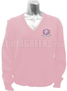 Pink Delta Phi Psi v-neck sweater with the crest on the left breast.