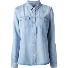 7 FOR ALL MANKIND 'Oll' denim shirt ($245) ❤ liked on Polyvore featuring tops, shirts, blouses, blusas, denim collared shirt, blue long sleeve shirt, blue denim shirt, shirts & tops and collared shirt