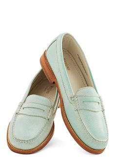 Loafer and Over Flat in Spearmint by Bass - Mid, Leather, Mint, Tan / Cream, Solid, Work, Daytime Party, Menswear Inspired, Best, Variation,...