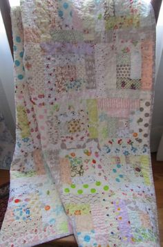 Low Volume Scrappy Log Cabin Quilt  Baby by SouthernBelleDesigns, $145.00