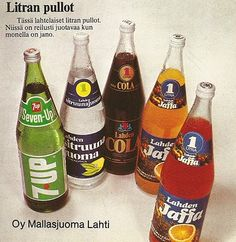 """""""Litran pullot"""". One litre bottles were a bit development back then. Now the sizes get bigger, but in Finland 2 litres is maximum. Abroad, I have even encountered 3 l ones. Killer for the teeth!"""