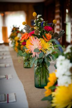 garden centerpieces in ball jars