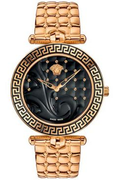 Shop the latest collection of Versace Women's Vanitas Rose Gold Ion-Plated Coated Stainless Steel Interchangeable Straps Diamond Watch from the most popular stores - all in one place. Versace Vanitas, Ring Armband, Jewelry Accessories, Fashion Accessories, Beautiful Watches, Black Enamel, Black Gold, Black Leather, Luxury Watches