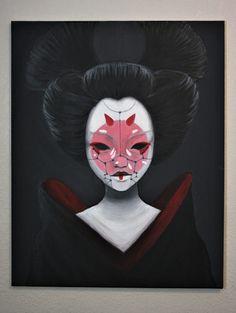 "ghost geisha acrylic 25"" x 30"" 2017"