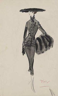 Walter Voigt Kostüm von Christian Dior Linie H, Herbst/Winter 1954/55  Tusche, Gouache SMB, Kunstbibliothek  #fashionillustration #fashion