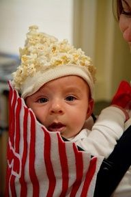 Popcorn baby! This is totally what we're doing for haloween this year!