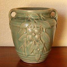 Early Vintage Nelson McCoy Pottery Vase 2-Handled Urn Matte Green Kousa Dogwood - 5th village