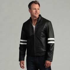 @Overstock - This genuine leather, moto-inspired jacket by Tanners Avenue is made from pig napa which is characterized by its durability and strength, and only gets softer with wear. Contrasting white accent stripes and multiple pockets finish this jacket.http://www.overstock.com/Clothing-Shoes/Tanners-Avenue-Mens-Genuine-Leather-Moto-Jacket/6749534/product.html?CID=214117 $129.99